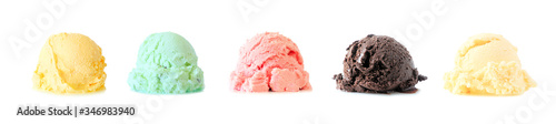 Fotografie, Obraz Assortment of ice cream scoops isolated on a white background