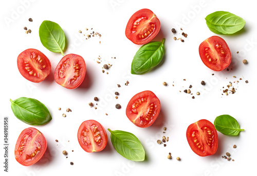 flat lay composition of tomato and basil Wallpaper Mural
