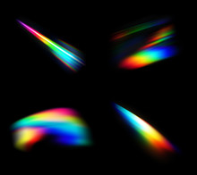 Small Abstract Colorful Rainbow Light Leak Prism Flare Photography Overlay On Black Background