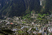 View Of Chamonix Village From Mount Aiguille De Midi In French Alps, France.