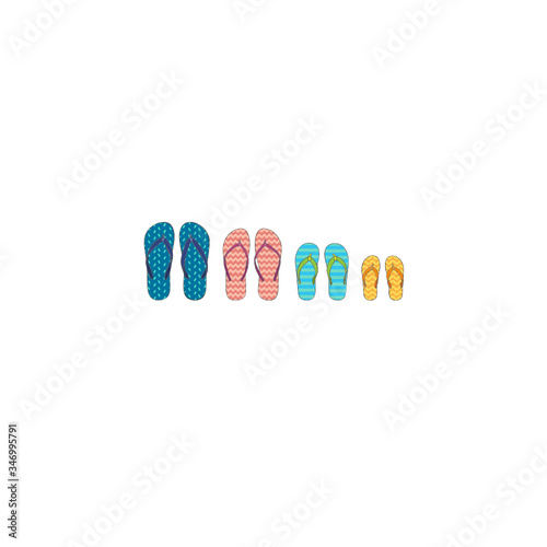 Four bright colored pairs of Flip-flops for a family of four Tapéta, Fotótapéta