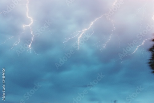 Fototapety, obrazy: Low Angle View Of Lighting In Cloudy Sky