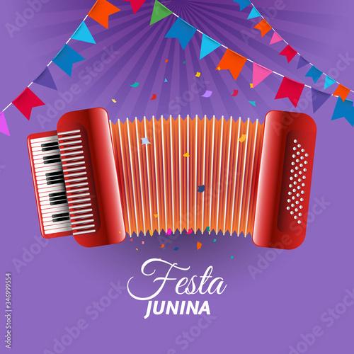 Festa Junina accordion adorned with pennants Wallpaper Mural