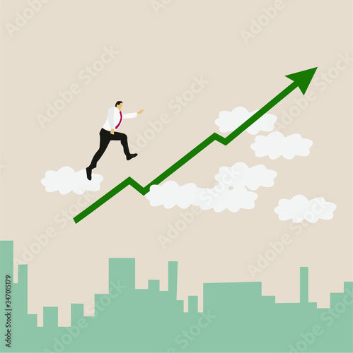 Business growth flat design vector concept: Businessman climbing up an ascending Wallpaper Mural