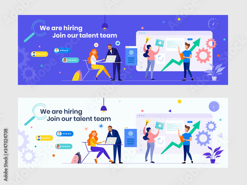 Obraz We are hiring recruitment banner with flat people. HR manager, hire employees to join our company. Job vacancy. Business teamwork consulting concept. Great for Twitter, Facebook, Linkedin etc cover - fototapety do salonu