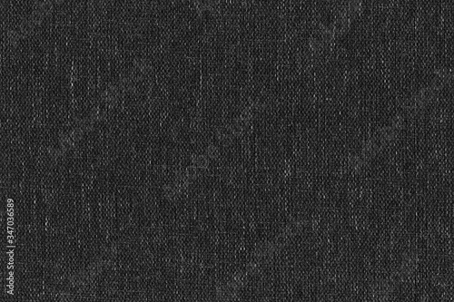 Obraz High resolution close-up texture of natural weave cloth in dark and black color. Fabric texture of natural cotton or linen textile material. Black fabric background. - fototapety do salonu