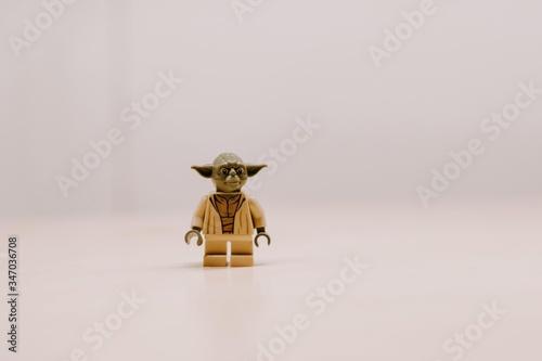Closeup of lego Yoda character from Star Wars Wallpaper Mural
