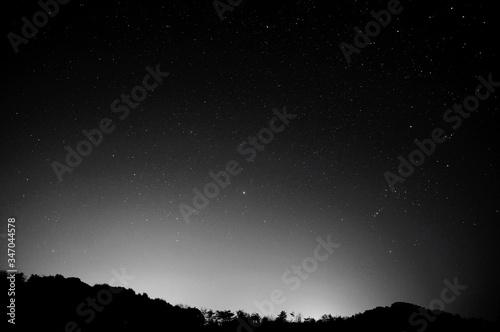 Obraz na plátně Silhouette Mountains Against Sky With Star Field