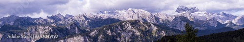 Fotografía Panoramic View Of Majestic Mountains Against Sky