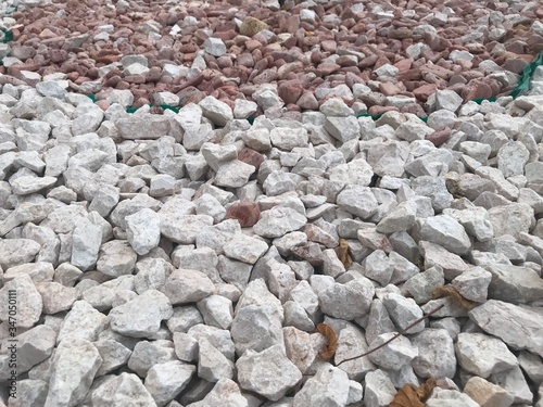 Close up image of Broken pebble stones or aggregates for decorative purpose and Canvas Print