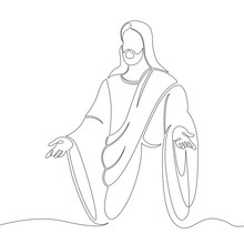 One Continuous Line Drawing Minimal Hand Jesus Christ