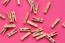 Wooden Clothespins Scattered