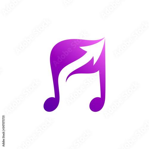 Photo music note with up arrow vector logo concept, music school, recording studio, so