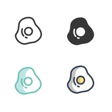 Fried Egg Icon Vector Illustra...