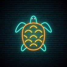 Turtle Neon Sign. Underwater A...