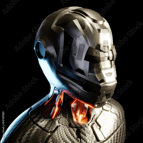 3d Artificial humanoid AI robot android in metallic cyborg droid armour Wallpaper Mural