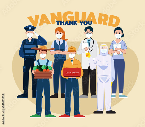 Photo Illustration concept of appreciation for essential worker, doctors, nurse, delivery, grocery, and truck driver transportation