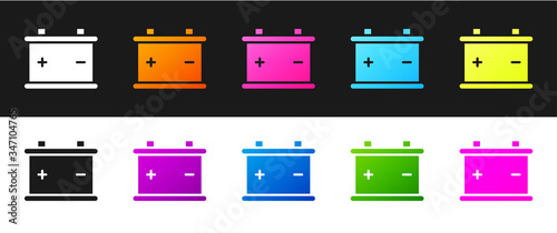 Photo Set Car battery icon isolated on black and white background