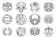 Horoscope zodiac astrology star signs symbols icon set