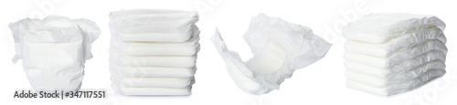 Photographie Set of baby diapers on white background. Banner design