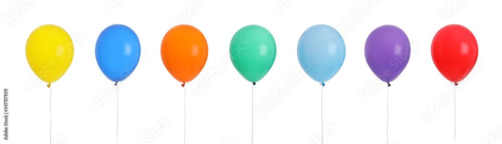 Fototapeta Set of different color balloons on white background. Banner design