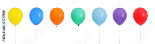 Fototapeta Set of different color balloons on white background
