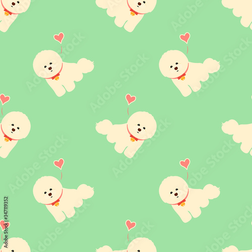 Photo Bichon Frise seamless pattern background with bell collar and hearts