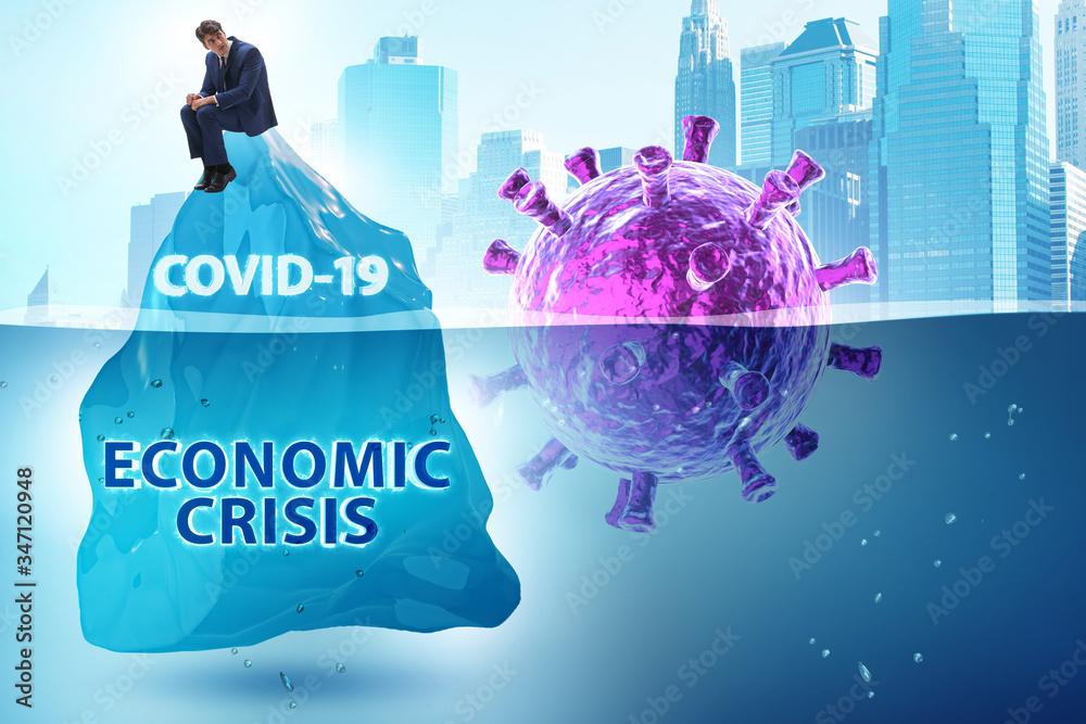 Fototapeta Economic crisis concept in coronavirus covid-19