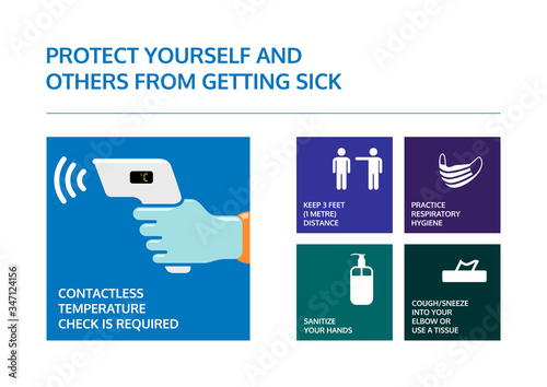 Obraz Covid-19 coronavirus prevention poster. Contactless temperature check is required. Info graphic for keep 3 meters distance, wear a face mask, use hand sanitizer and cough in to elbow or use a tissue. - fototapety do salonu
