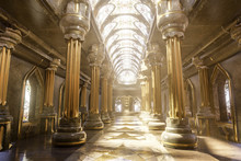A Hyper-realistic Fantasy 3D Interior Of A Temple. Majestic Pillars, Arches, Vitreous  And Dreamy Atmosphere Follows This Image.  Luxurious Golden Details And Cinematic View.