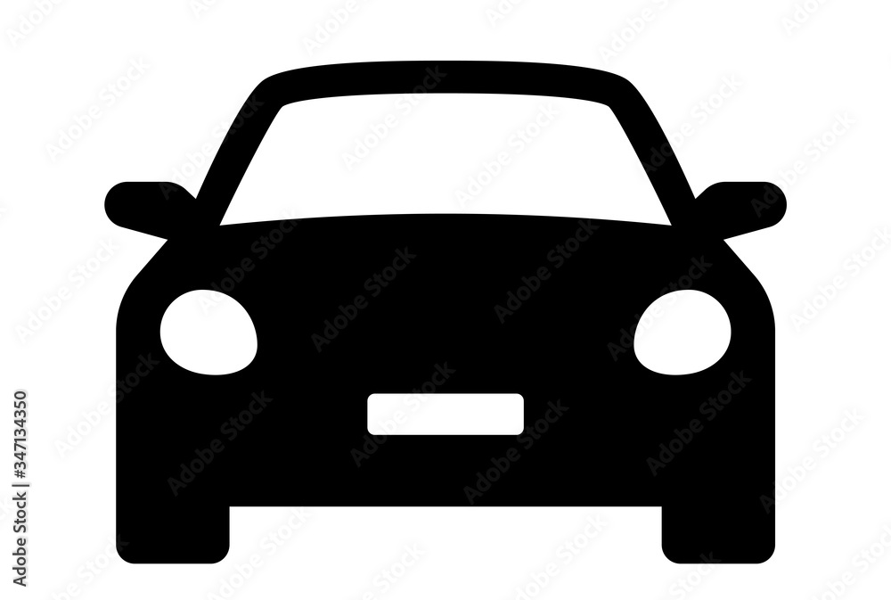 Fototapeta Car icon. Auto vehicle isolated. Transport icons. Automobile silhouette front view. Sedan car, vehicle or automobile symbol on white background - stock vector.