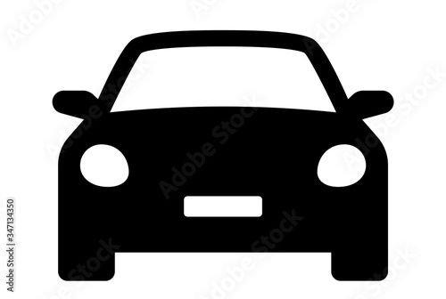 Fototapeta Car icon. Auto vehicle isolated. Transport icons. Automobile silhouette front view. Sedan car, vehicle or automobile symbol on white background - stock vector. obraz