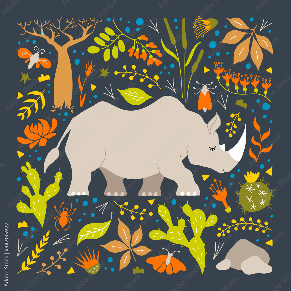 Fototapeta Rhinoceros surrounded by herbs, leaves and flowers. Colorful poster with a rhino in the savannah. Vector illustration. Hand-drawn African rhino. Poster for a nursery in a childish style.