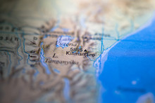 Geographical Map Location Of Kilimanjaro In Tanzania Africa Continent On Atlas