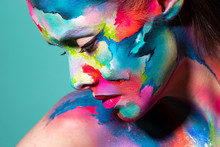 Fashion And Creative Makeup, Young Beautiful Woman Abstract Face Art,