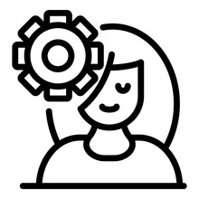 Woman And Gear Icon. Outline W...
