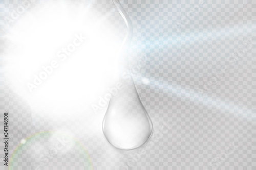 Fototapeta Water rain drops or steam shower isolated on transparent background. Realistic pure droplets condensed.  obraz na płótnie