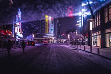 Snow Covered Street In Illumin...