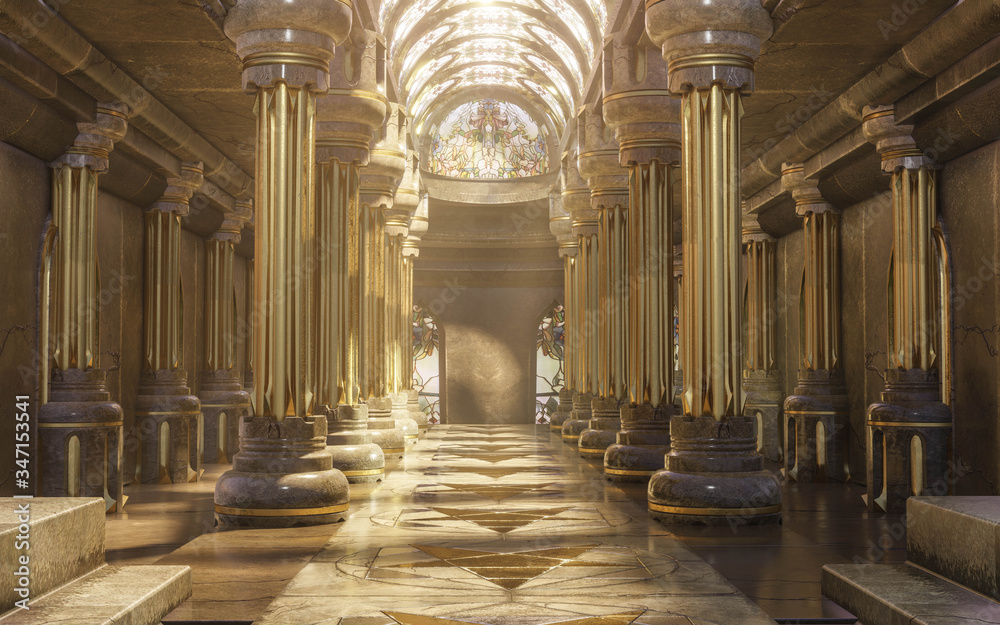 Fototapeta A hyper-realistic fantasy 3D interior of a temple. Majestic pillars, arches, vitreous  and dreamy atmosphere follows this image.  Luxurious golden details and cinematic view.