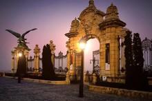Illuminated Street Light Outside Gate At Buda Castle