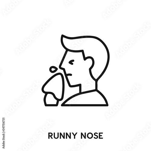 Fototapeta runny nose icon vector. runny nose sign symbol