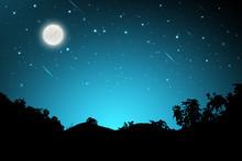 Night Landscape With Silhouett...