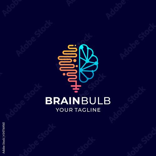 Photo brain bulb logo vector design template