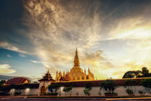 Wat Phra That Luang Of Vientiane, Lao PDR. It Is A Beautiful Golden Relic.