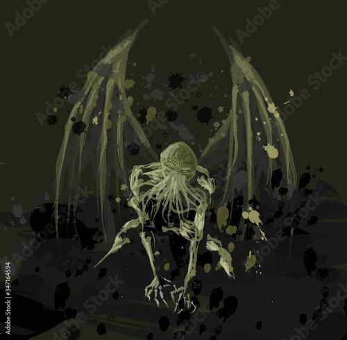 ocean depths abyss octopus monster Canvas Print