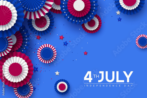 4th of July, USA Independence day banner Fototapet