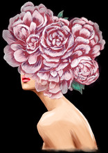 Girl With Beautiful Flowers Instead Of A Head. Digital Illustration.