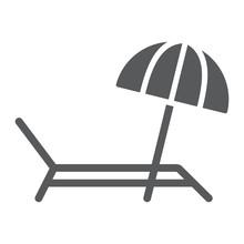 Umbrella And Sun Lounger Glyph...