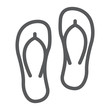 Flip flops line icon, summer and beach, footwear sign vector graphics, a linear icon on a white background, eps 10.