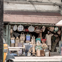 An Old Curio Shop Selling Hand Made House Wares On The Streets Of Mombasa